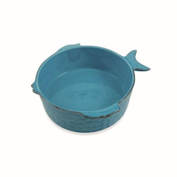 Didelis apvalus žydras keramikinis kepimo indas