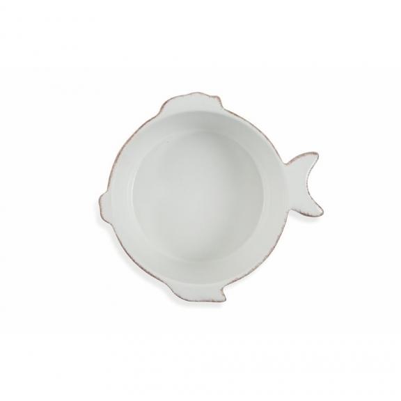 Mažas apvalus baltas keramikinis kepimo indas