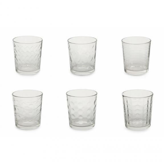 Skaidrių vienspalvių stiklinių rinkinys