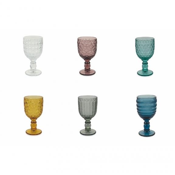 """""""Geometrie"""" 6 spalvotos vyno taurės"""