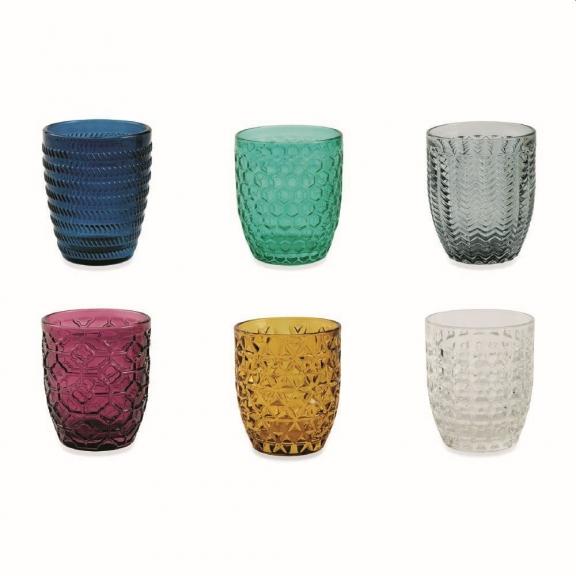 """""""Geometrie"""" 6 spalvotos stiklinės"""